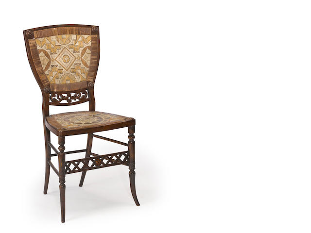 A Micmac quill-decorated chair