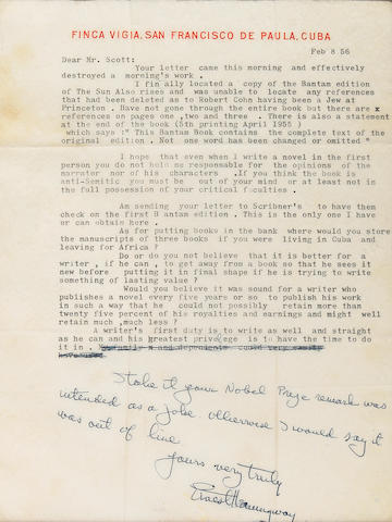 "HEMINGWAY, ERNEST. 1899-1961. Typed Letter Signed (""Ernest Hemingway""), 1 p, 4to, Cuba, February 8, 1956, to Professor Arthur L. Scott, on Finca Vigia stationery, with autograph postscript,"