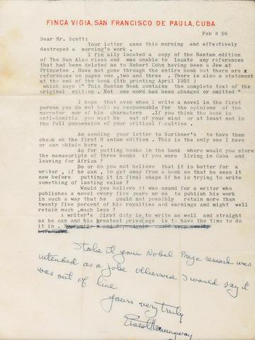 HEMINGWAY. Letter signed. 2/8/56.