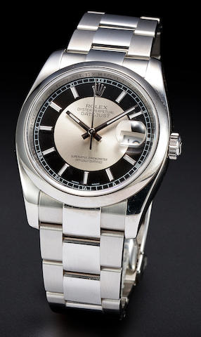 Rolex. A fine stainless steel automatic center seconds calendar bracelet watch with two tone dialOyster Perpetual Datejust, Ref:116200, No. M084826, sold 2008