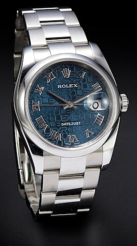 Rolex. A fine 18K stainless steel automatic center seconds calendar bracelet watch with blue Jubilee dialOyster Perpetual Datejust, Ref:116200, No. D722817, sold 2006