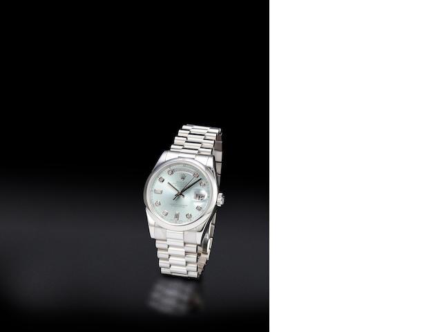 ROlex P DAYDATE Glacier blue Serti Diamond marker dial