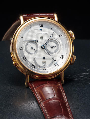 "Breguet. A fine 18K gold automatic alarm wristwatch with dual time zones and date""Le Reveil du Tsar"" Ref:5707, No. 4091, circa 2004"