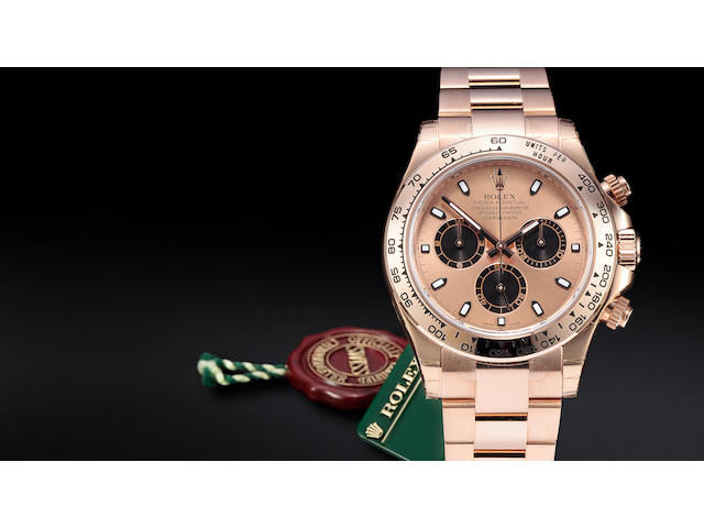 Rolex. A fine 18K rose gold automatic tachymeter chronograph bracelet watchOyster Perpetual Cosmograph Daytona, Ref:116505, No. M671124, sold 2008
