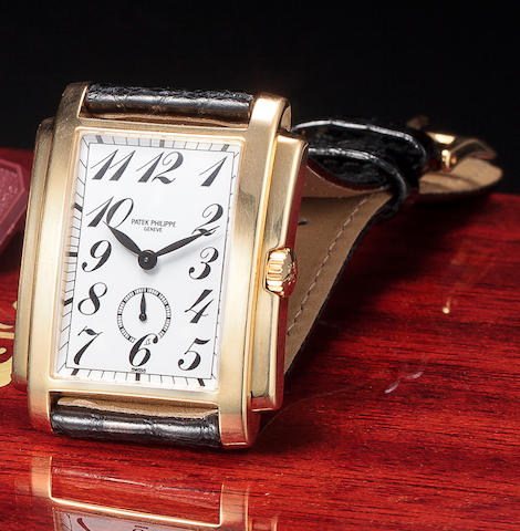 Patek Philippe. A fine 18K gold rectangular wristwatchGondolo, Ref:5024J, Case no. 4137836, Movement no. 1874349
