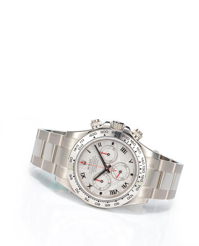 Rolex. A fine 18K white gold automatic meteorite dial tachymeter chronograph bracelet watchOyster Perpetual Cosmograph Daytona, Ref:116509