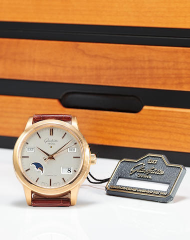 Glashütte Original. A fine 18K rose gold automatic center seconds wristwatch with perpetual calendar and moon phasesSenator Perpetual Calendar, No. 349, Movement no. 20085, circa 2001
