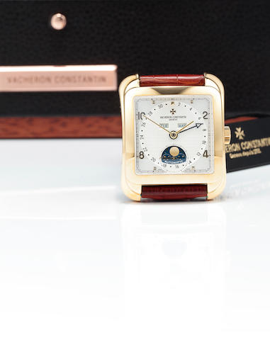Vacheron & Constantin. A fine 18K gold automatic wristwatch with triple calendar and moon phasesLes Historiques Toledo 1952, Ref: 47300, Case no. 778161, Movement no. 947551, circa 2004