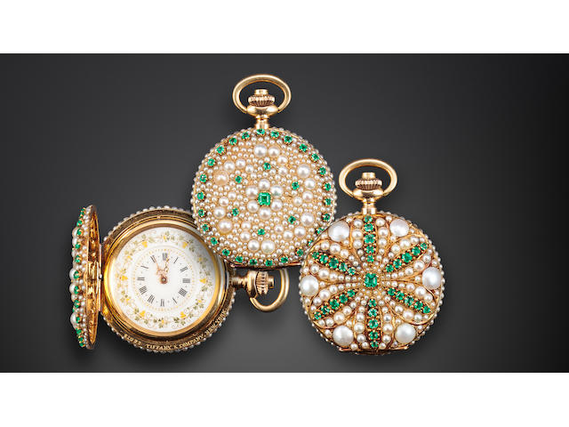 Tiffany & Co. A unique 18K gold hunter cased fob watch pavé set with pearls and emeralds, designed by Paulding Farnham for the Columbian Exposition of 1893No. 81092, the case with Tiffany's Columbian Exposition hallmark