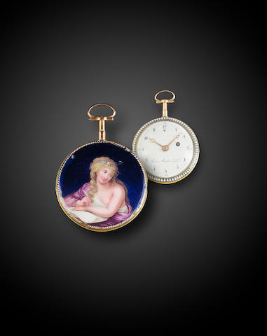 Roux, Bordier & Cie. A finely painted enameled gold quarter repeating verge watchNo. 11267, circa 1795