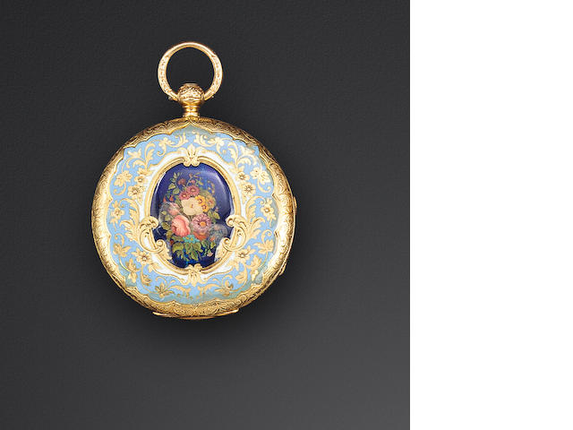 Grohé Geneva and London. An enameled 18K gold open face cylinder watchNo. 4941, mid 19th century