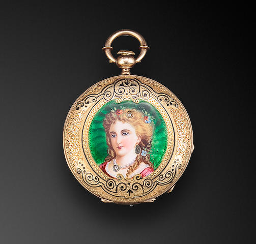 Emile Huguenin, Le Locle. An enameled 18K gold hunter cased lever watchNo. 1556, third quarter 19th century
