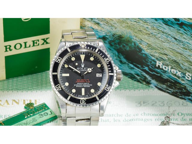 Rolex. A fine and rare stainless steel automatic center seconds diver's bracelet watch with date, helium escape valve and double red Sea Dweller logoOyster Perpetual Date, Sea-Dweller/Submariner 2000, Ref:1665, Mark IV, No. 3523608, made in 1972