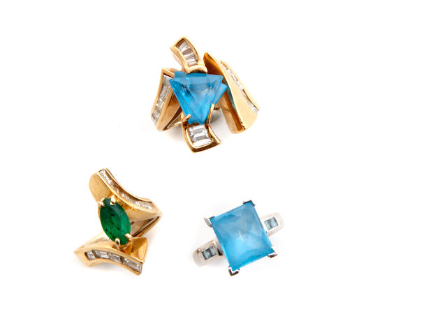 A collection of three diamond, gem-set and gold rings