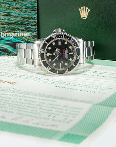 Rolex. A fine and rare stainless steel automatic center seconds diver's bracelet watch with date, helium escape valve and double red Sea Dweller logoOyster Perpetual Date, Sea-Dweller / Submariner 2000, Ref:1665, Mark III, No. 3066149, made in 1972