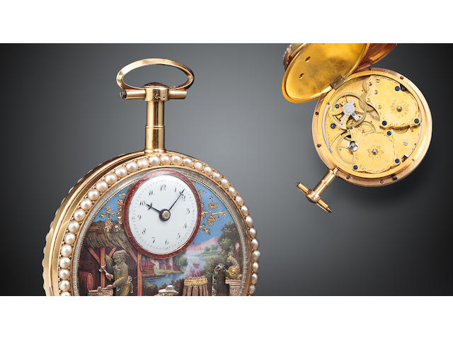 A fine and rare enameled gold pearl set cylinder watch with vari colored gold quadruple automatonCirca 1800, pendant numbered 8323