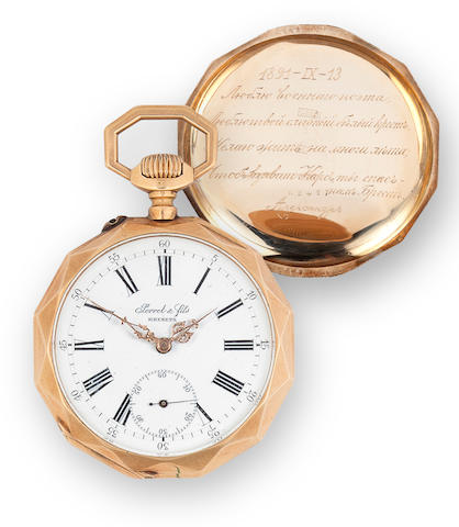 Perret & fils, Les Brenets. A 14K gold open face presentation keyless lever watchDated 1891