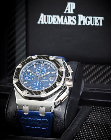 Audemars Piguet. A fine and rare limited edition platinum and carbon fiber automatic chronograph with dateRoyal Oak Offshore, Juan Pablo Montoya, No. 65 / 100, Case no. F 25314, Movement no. 583427