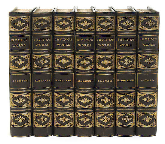 IRVING, WASHINGTON. Works. NY: 1888. 27 vols. 3/4 brown morocco.