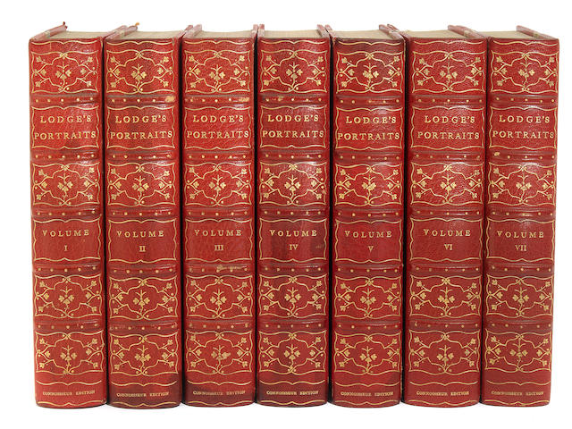 LODGE, EDMUND. Portraits of Illustrious persons.... Boston: 1902. 12 vols. One of 250. 3/4 cromson morocco.