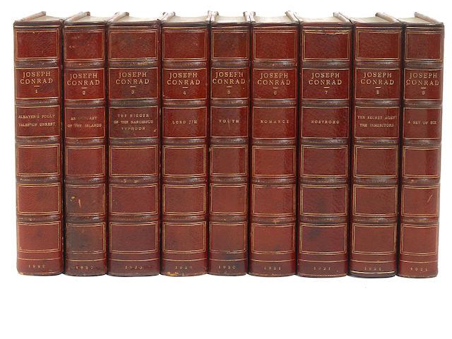 CONRAD, JOSEPH. Works. Garden City: 1920. Sun Dial ed of 735, sgd. 24 vols. 3/4 crimson morocco.