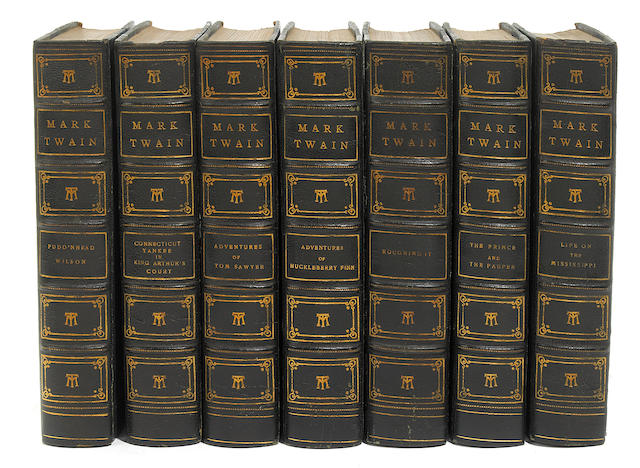 TWAIN, MARK. Works. NY: 1924. 22 vol. Mississippi ed. 3/4 blue morocco.