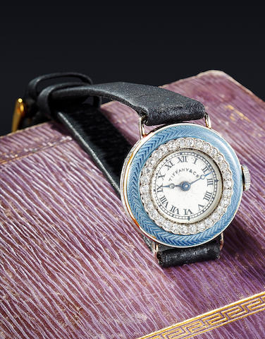 Cressarrow. A diamond set enameled white gold lady's wristwatch Retailed by Tiffany & Co., New York,Case no. 4561, Movement no. 26503, signed C. H. Meylan, Brassus, circa 1915