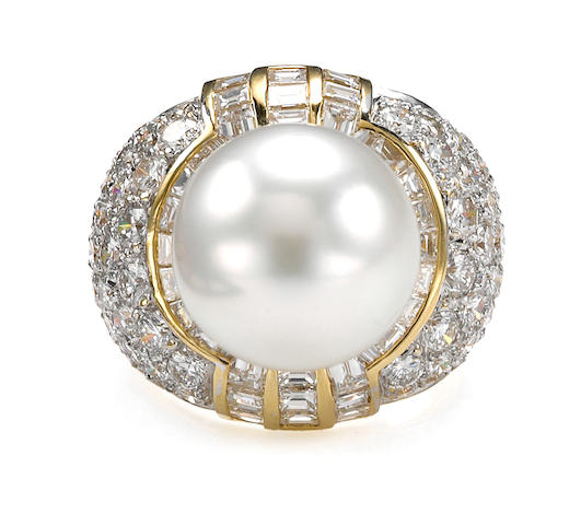 A South Sea cultured pearl and diamond ring