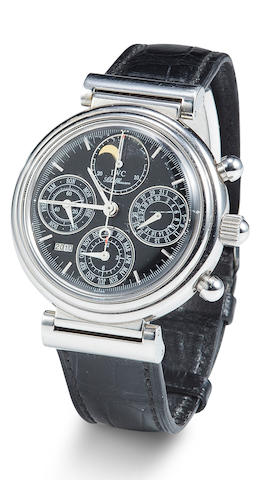 IWC. A stainless steel automatic chronograph wristwatch with perpetual calendar and moon phasesDa V