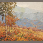 Winifred Welch (American, 20th Century) Autumn landscape 18 x 20in