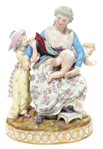A Meissen porcelain figural group  late 19th/early 20th century