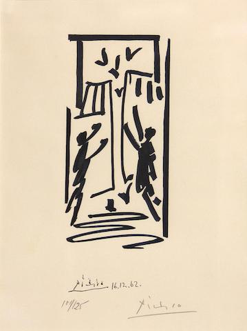After Pablo Picasso (Spanish, 1881-1973); Les colombes et des prisonniers (pour les exiles espagnols);
