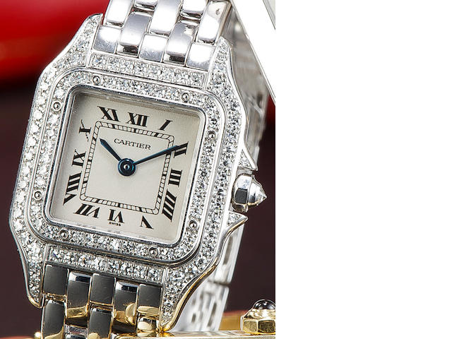 Cartier. A fine 18K white gold and diamond lady's watch and braceletPanthère, no. 1660 MG307234, sold 1999