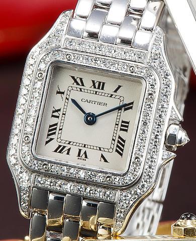 Cartier. A fine 18K white gold and diamond lady's watch and braceletPanthère, no. 1660 MG307234, sold 1999