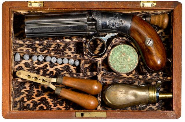 A fine cased Blunt & Syms pepperbox revolver