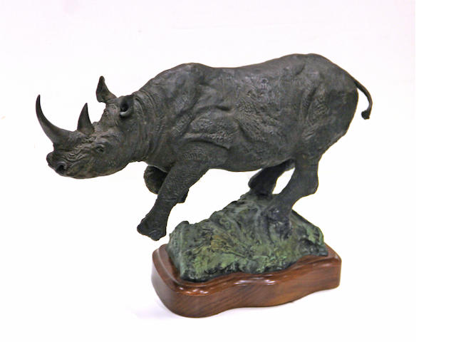 Lorenzo E. Ghiglieri (American, born 1931) Wally's rhino height with base: 13 1/4in