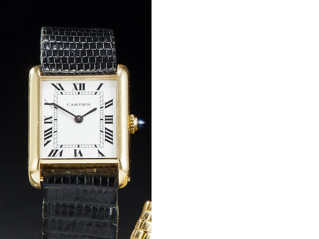 Cartier. An 18K gold automatic Tank wristwatchNo. 170020120