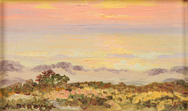 Albert Thomas DeRome (American, 1885-1959) Dunes, Monterey Coast, 1934 sight: 3 3/4 x 5 3/4in