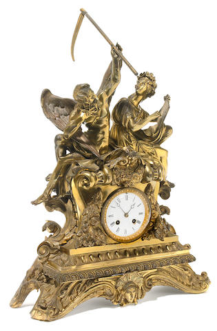 A Napoleon III gilt bronze mantel clock <BR />third quarter 19th century