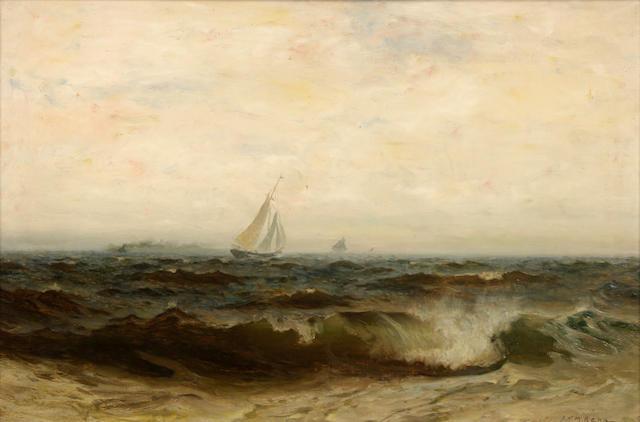 Frank Knox Morton Rehn (American, 1848-1914) Sailboats on choppy seas 16 1/2 x 24 1/2in