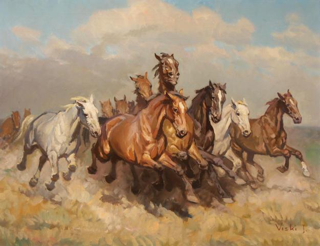 Janos Viski (Hungarian, born 1891) Calvalcade 24 x 30in