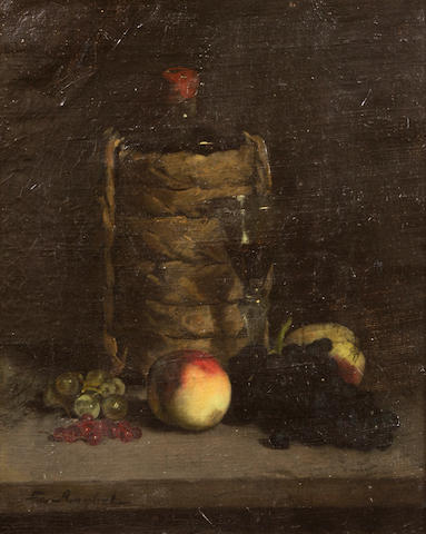 Ferdinand Victor Léon Roybet (French, 1840-1920) A still life with fruit and wine on a table 16 x 13in