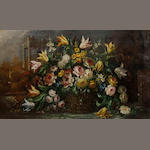 Italian School A basket of flowers in a classical landscape 28 x 47in