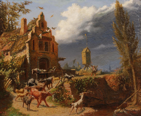 Belgian School, 19th Century A shepherd boy driving a herd of goats; together with a painting of a similar subject  (a pair) each 17 1/2 x 21in