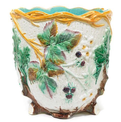 A Wedgwood majolica jardinière <BR />date code for 1873 or 1899