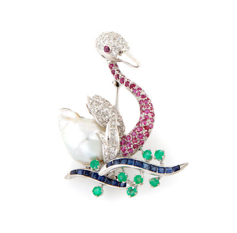 A cultured pearl, gem-set, diamond and 18k white gold swan brooch