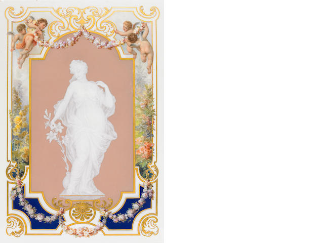 A Meissen patê sur patê and paint decorated porcelain plaque <BR />late 19th/early 20th century