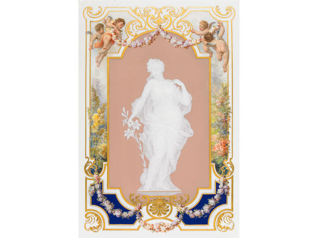 A Meissen pâte-sur-pâte and paint decorated porcelain plaque  late 19th/early 20th century