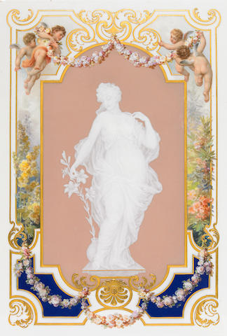 A Meissen pâte-sur-pâte and paint decorated porcelain plaque  late 19th/early 20th century