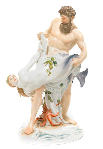A Meissen porcelain figural group: Fishing for water fairies  late 19th/early 20th century